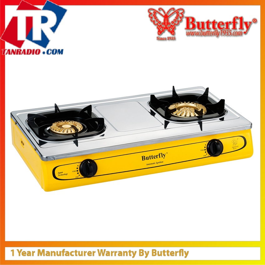 Erfly Double Gas Stove 2 Burners Stainless Steel T 923b