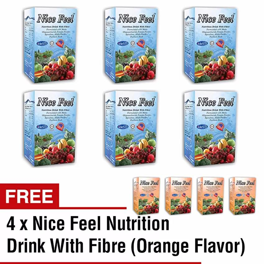 Buy 6 Free 4 Nice Feel Fiber Nutrition Drink (6 Vege + 4 Orange Flavor