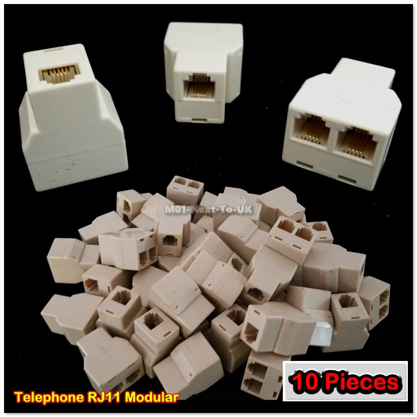 [Buy1Free1] 10x RJ11 4-pin Telephone Coupler Splitter Adapter Modular