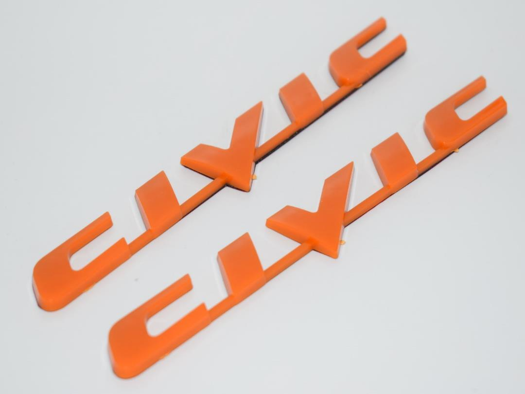 [Buy1Free1] 2 Piece Civic Orange Trunk Badge Emblem Logo Fender 3D Car