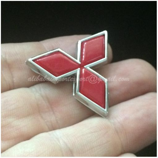 [Buy1Free1] Mitsubishi 33mm 3D Chrome RED Car Badge Sticker Decal Embl