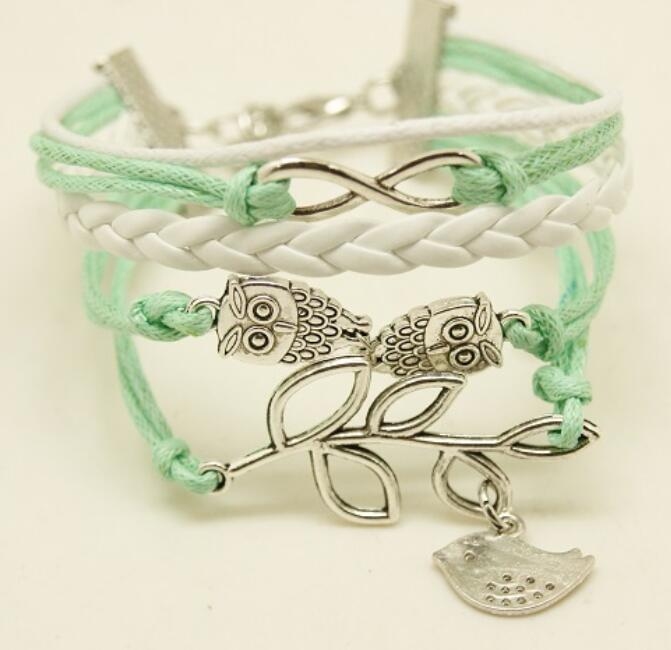C09112944 Green leaves pigeon owl charms friendship bracelet