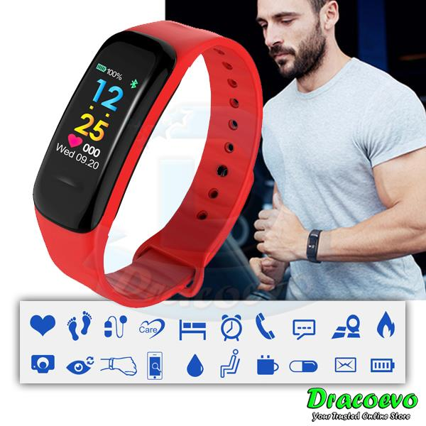 C1 Plus Smart Bracelet Blood Pressure Band Heart Rate Fitness Sport