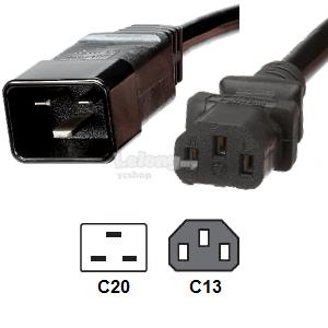 C13 to C20 1.0mm Power Cord Extension 2meter (S491)