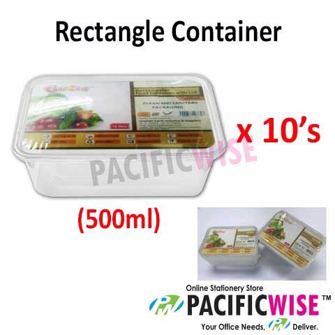 C500 Rectangle Container 500ML (10's)