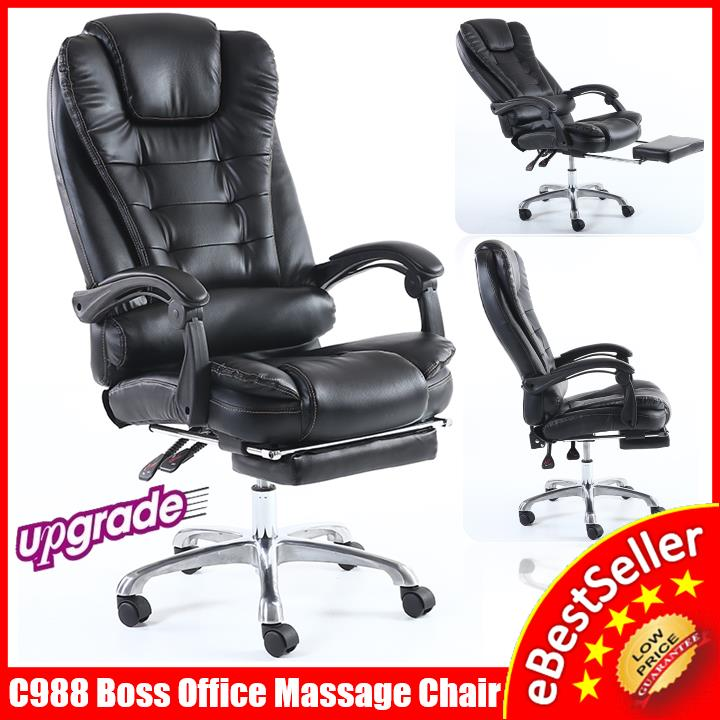 C988 BOSS Ergonomic Office Home Leather Massage Chair Kerusi Pejabat