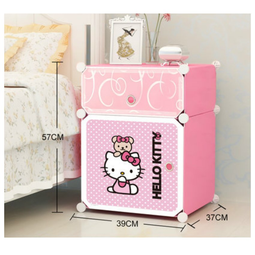 Cabinet 2 Cubes Hello Kitty Bed Sided Diy Storage Box