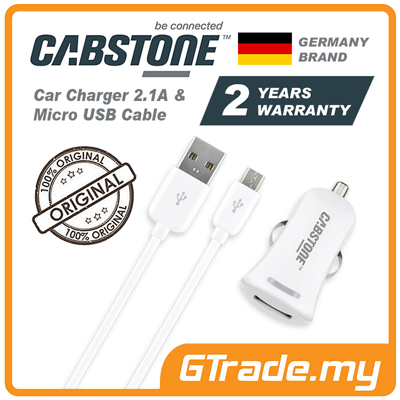 CABSTONE 2.1A Car Charger & Micro USB Cable Motorola LG Nexus G3 G4 G2