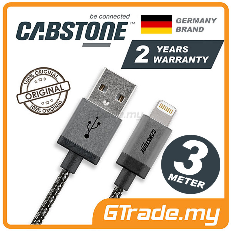 CABSTONE Metal Lightning Charger USB Cable 3M Apple iPad Air 4 2 1