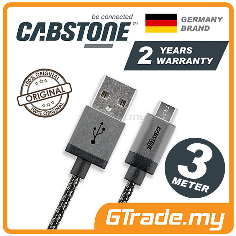 CABSTONE Metal Micro USB Cable 3M Samsung Galaxy Note Tab S 10.1.5 8