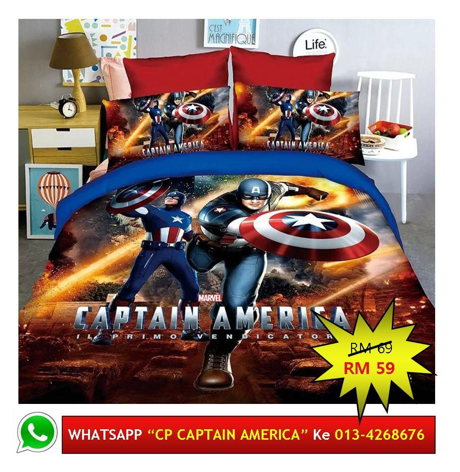 "Cadar Patchwork Single 2in1 Murah Design ""CAPTAIN AMERICA"""