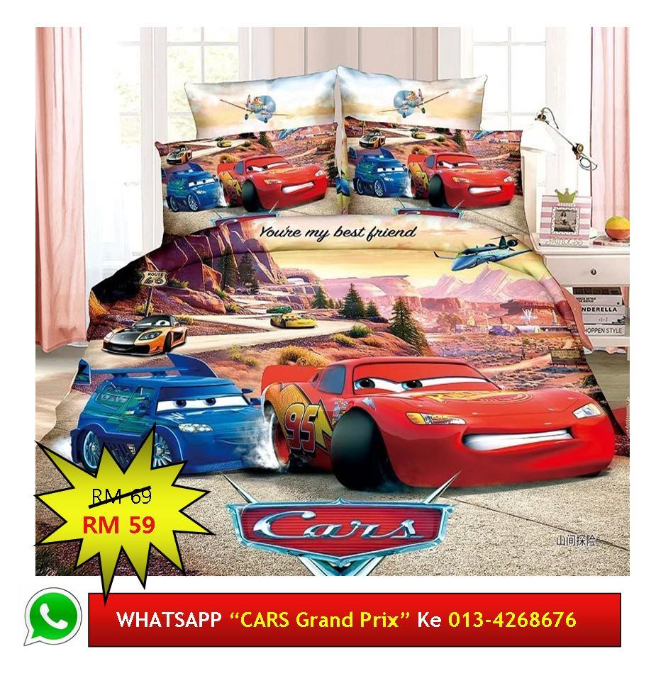 "Cadar Patchwork Single 2in1 Murah Design ""CARS Grand Prix"""