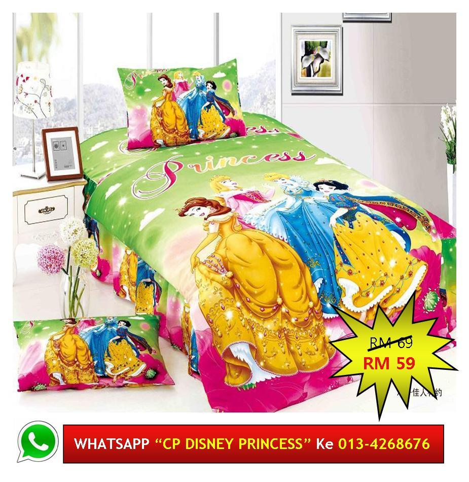 "Cadar Patchwork Single 2in1 Murah Design ""DISNEY PRINCESS"""