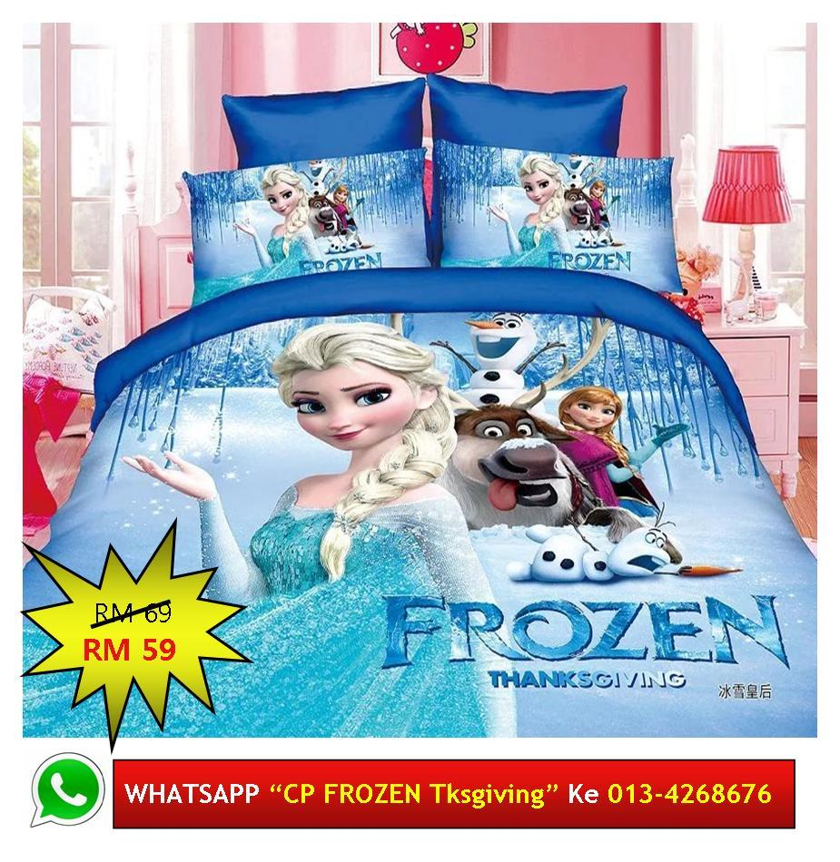 "Cadar Patchwork Single 2in1 Murah Design ""FROZEN Thanksgiving"""