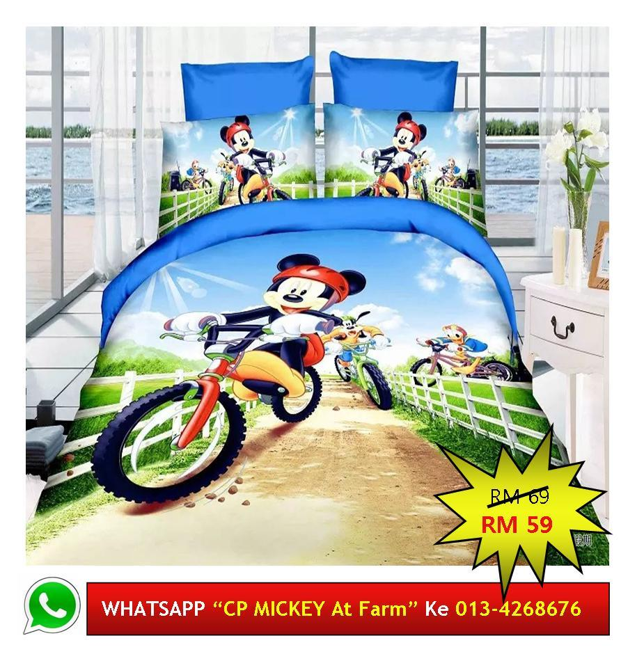 "Cadar Patchwork Single 2in1 Murah Design ""MICKEY MOUSE at Farm"""