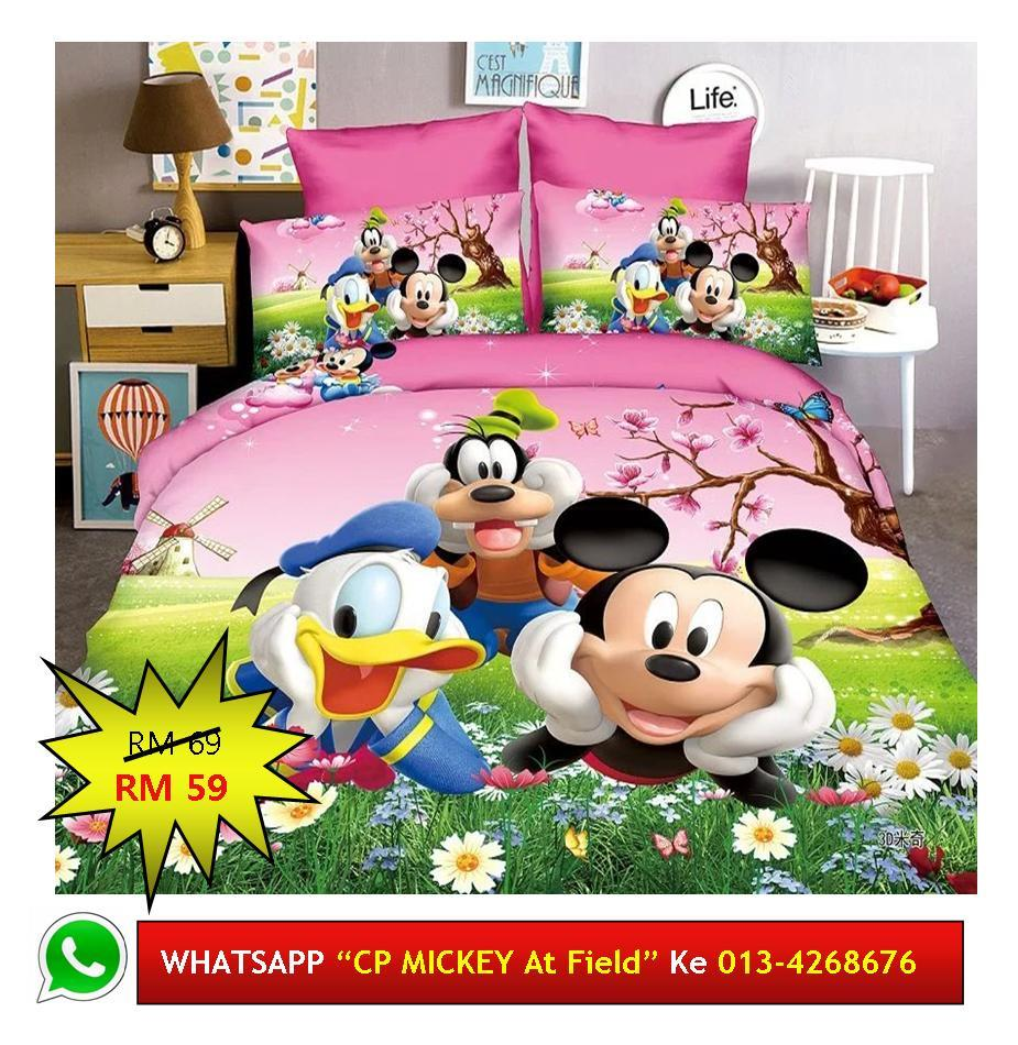 "Cadar Patchwork Single 2in1 Murah Design ""MICKEY MOUSE at Field"""