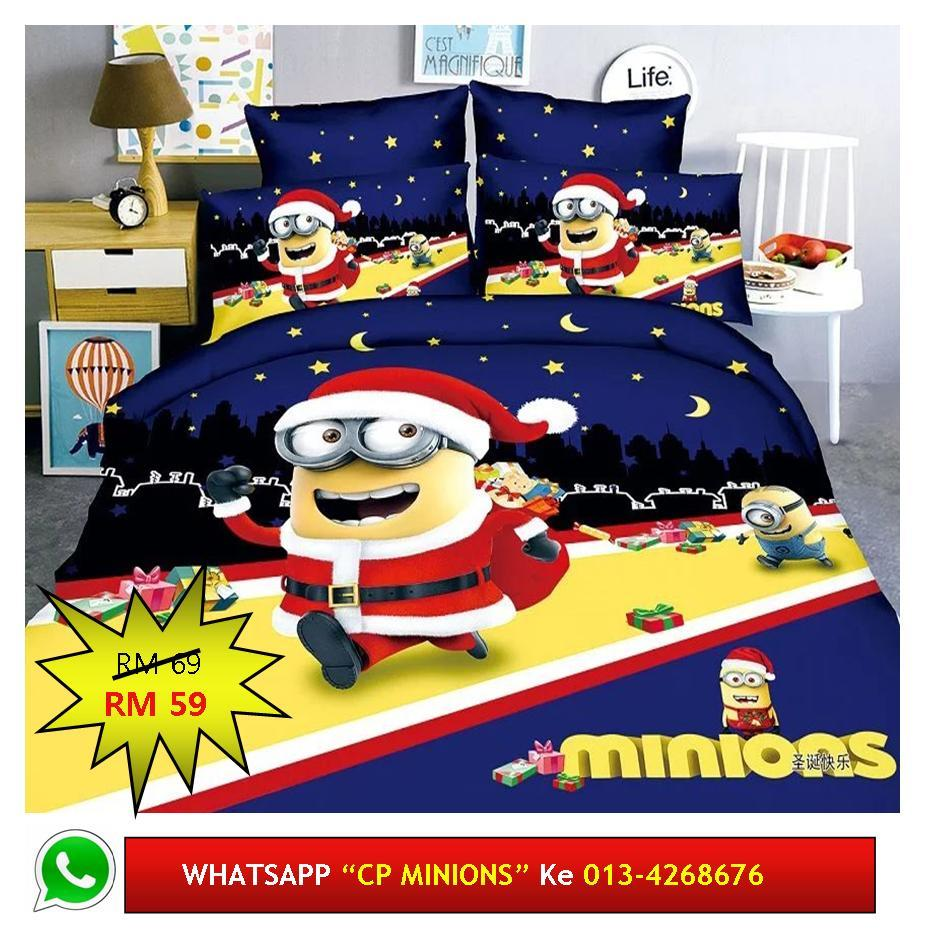 "Cadar Patchwork Single 2in1 Murah Design ""MINIONS"""