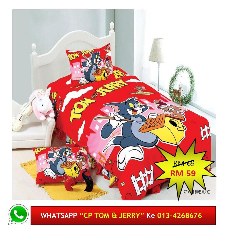 "Cadar Patchwork Single 2in1 Murah Design ""TOM & JERRY"""