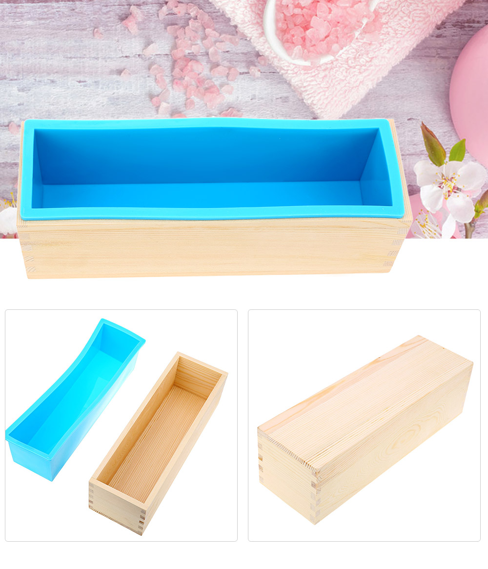 Cake Decorating Supplies - Silicone Soap Mold Wooden Box - 1200g Recta..