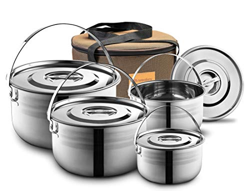 Camping Cookware Set - Compact Stainless Steel Campfire Cooking Pots and Pans