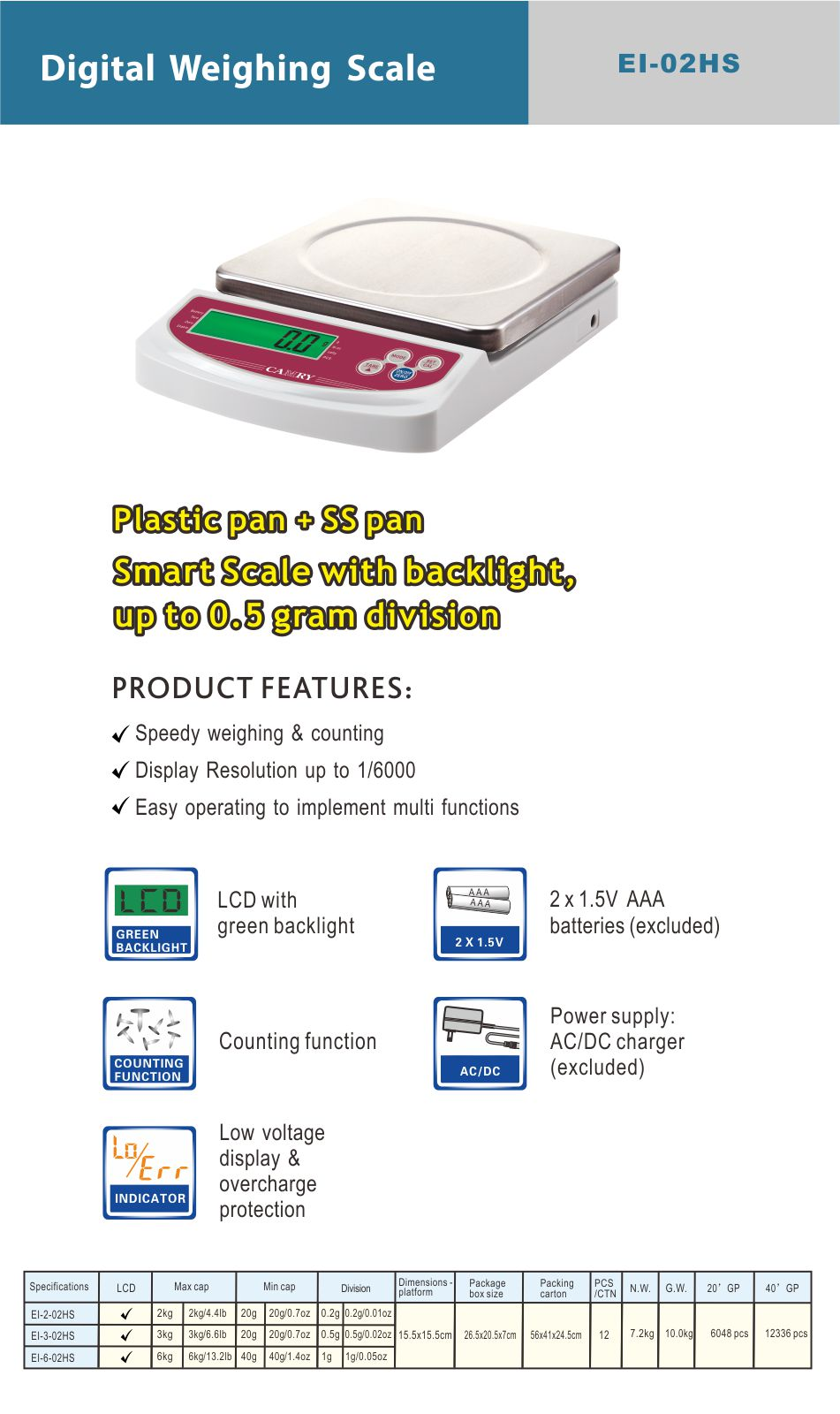Camry Electronic Price Weighing Scale 3kg x 0.5g