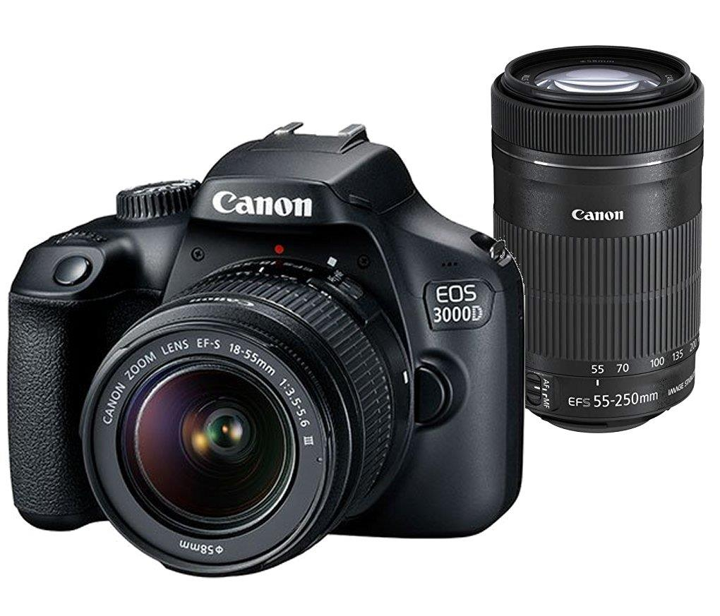 Canon EOS 3000D 18-55mm III + 55-250mm STM Twin Kit +32GB+Bag (Import)