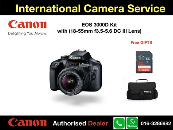 Canon EOS 3000D Kit(18-55mm DC III Lens)FOC:32GB SD+Canon Bag'Msia Set