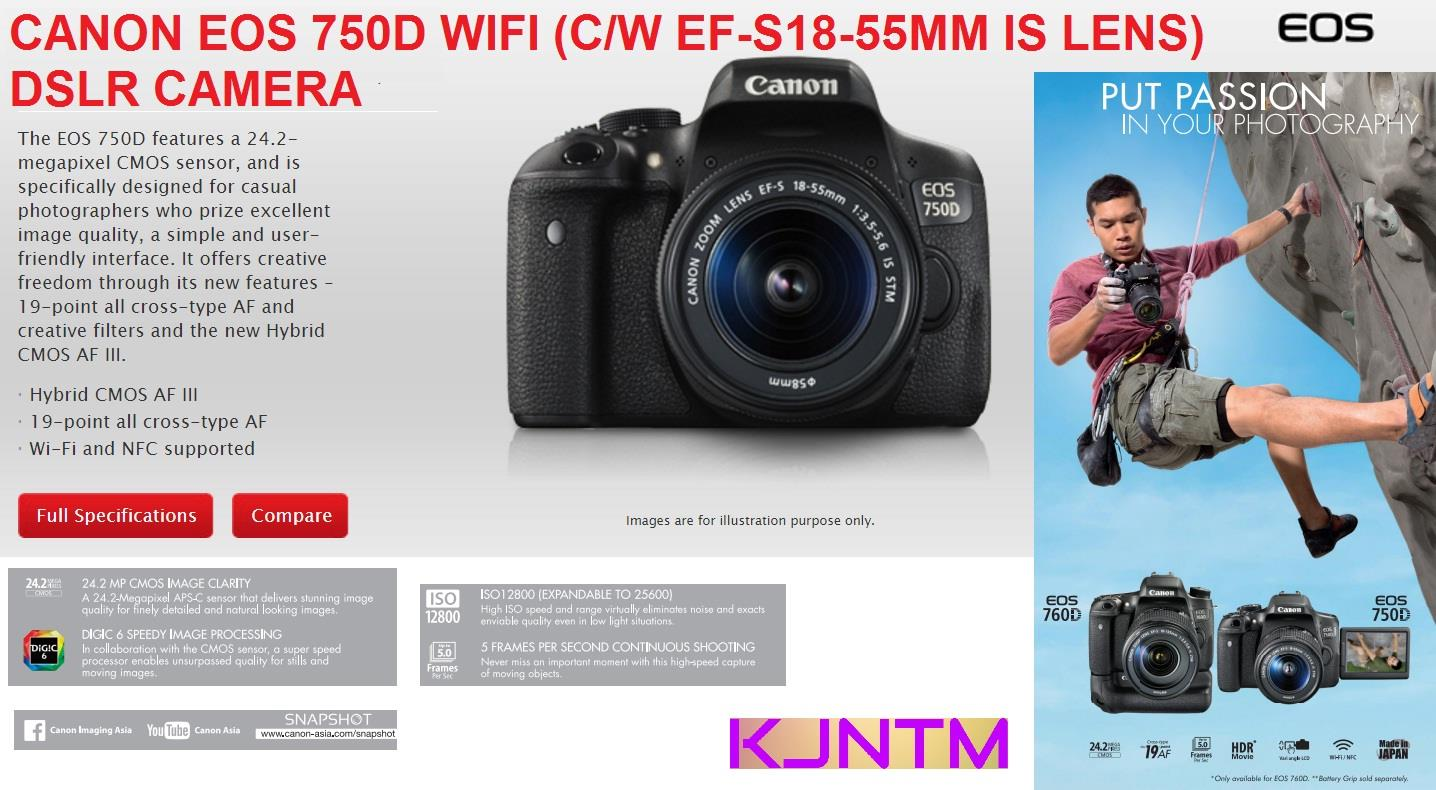 Canon Eos 750d Wi Fi Nfc Dslr Camera End 6 29 2018 441 Pm 760d Body Only 760 Bo With 18 55mm Lens