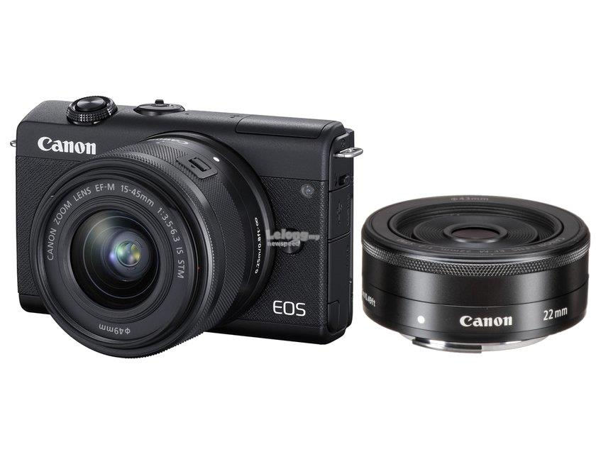 Canon EOS M200 15-45mm +22mm Twin Lens +32GB+Bag(MSIA)