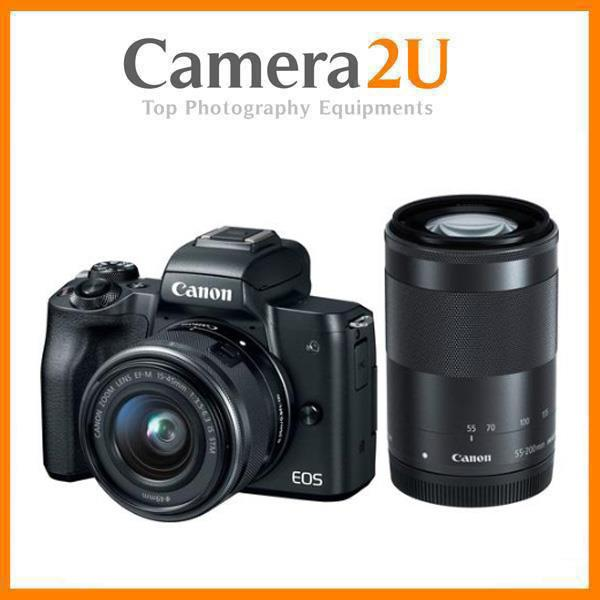 NEW Canon EOS M50 15-45mm + 55-200mm + 32GB + Bag