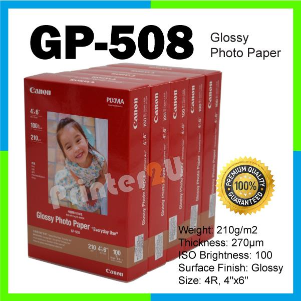 Canon GP-508 Glossy Photo Paper 4R/100 Sheets/210 gram Inkjet Paper x5