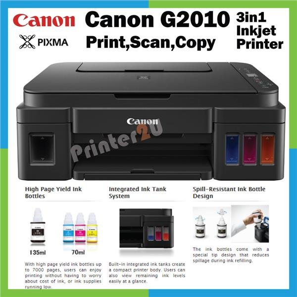 Canon Inkjet 3in1 Printer G2010 G-2010 Print Scan Copy Original CISS