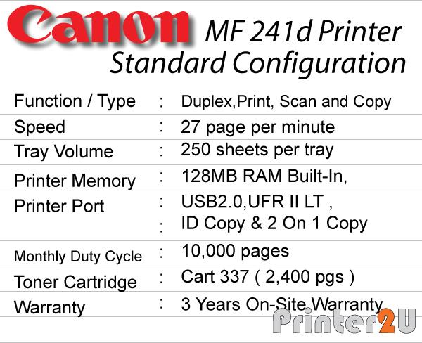 Canon Laser All in one Printer MF241d Duplex Print Scan Copy MF 241d