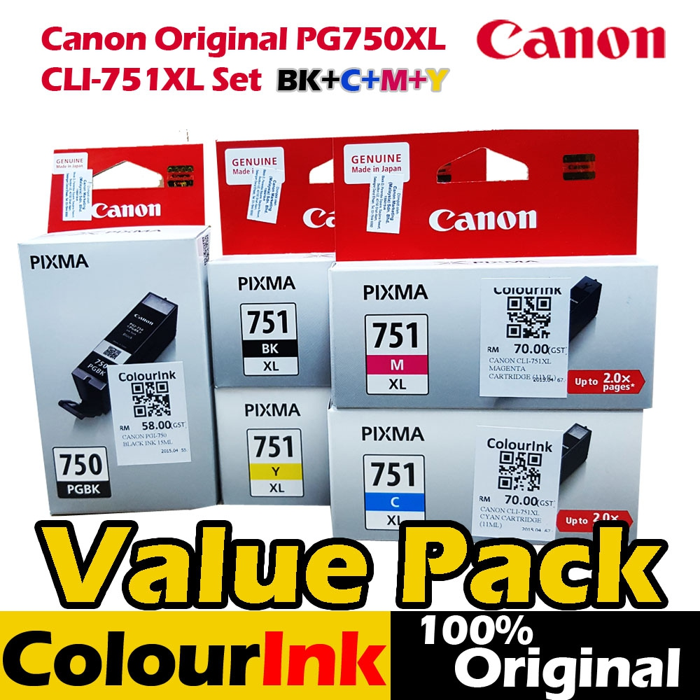 Canon Pg 750xl Cli 751xl Oricombo Bc End 1 5 2020 121 Am Ink Cartridge Pgi Black Bcmy Mg5570 5670