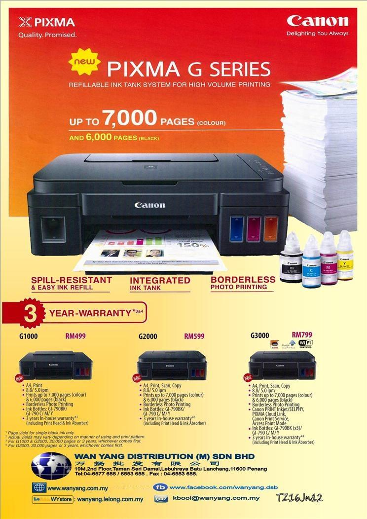 CANON NEW PIXMA G SERIES G1000  Inkjet  printer