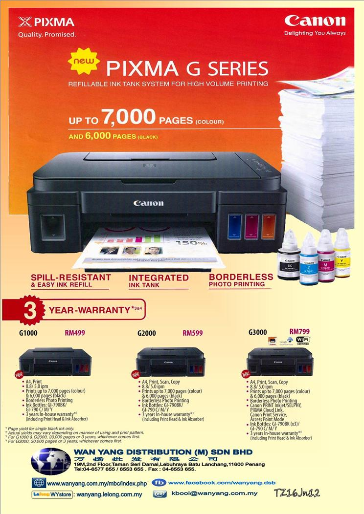 CANON NEW PIXMA G SERIES G2000  Inkjet  printer