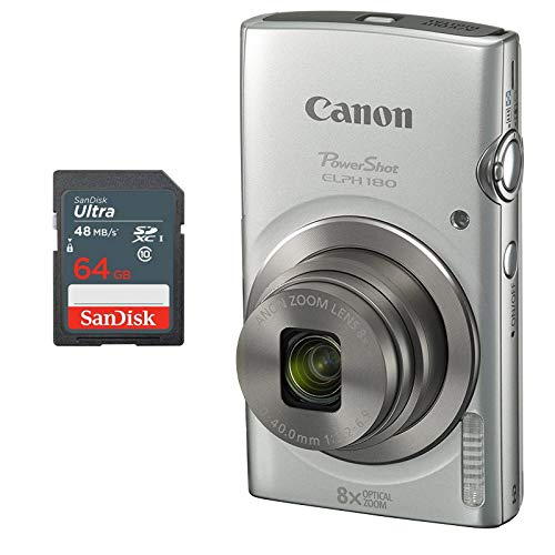 Canon PowerShot ELPH 180 Digital Camera + 64 GB Memory Card (Silver)from USA