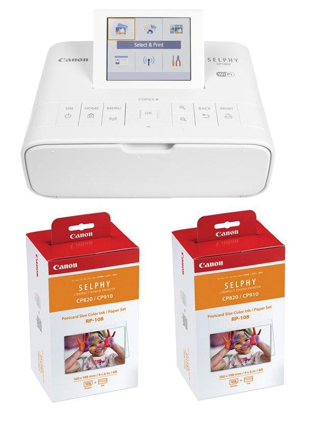 Canon WiFi SELPHY CP1300 Compact Photo Printer Free 2 Box Color Paper