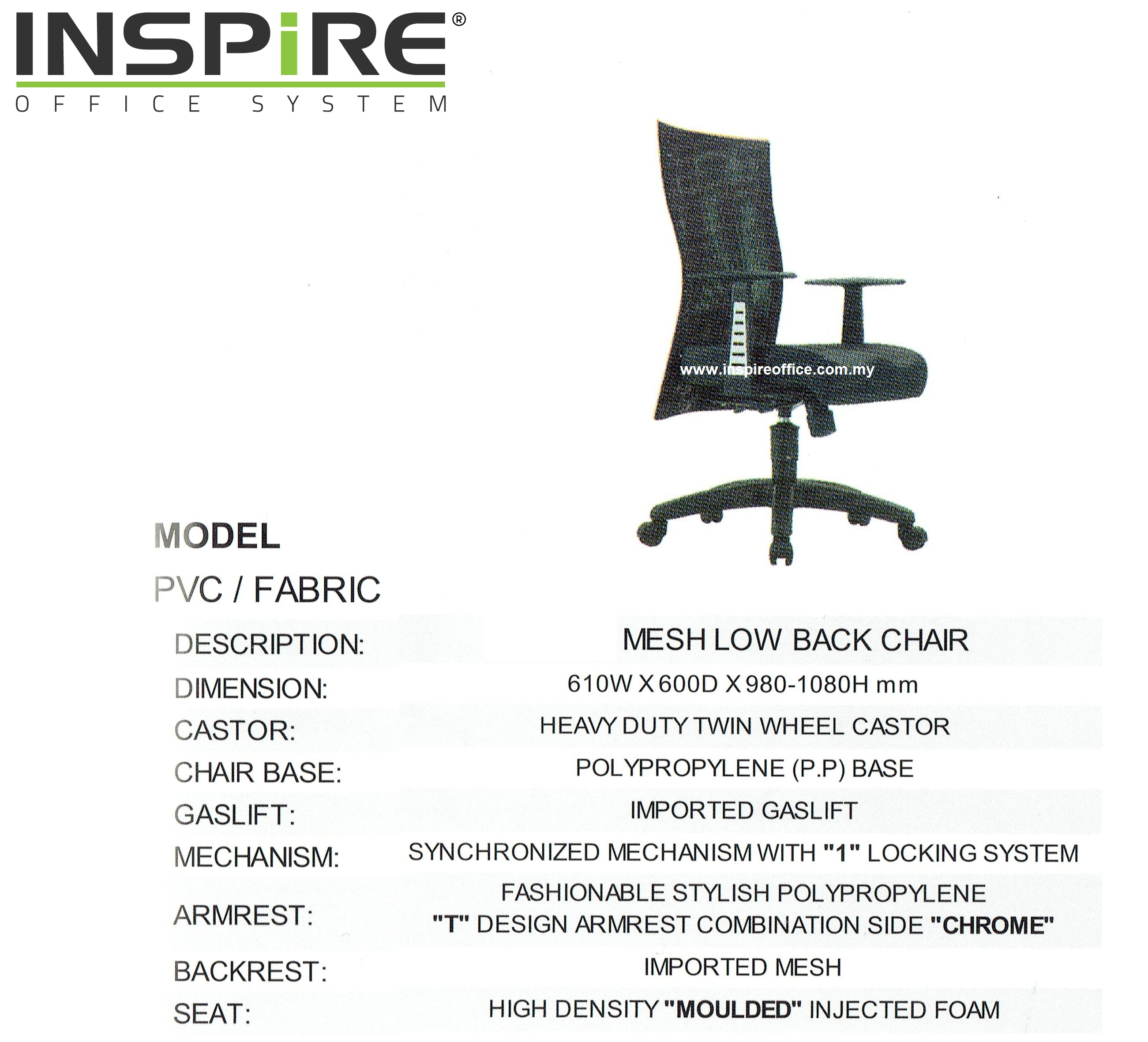 Cape INS-3022 Low Back Mesh Office Chair