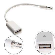 Car 3.5mm Male AUX Audio Plug Jack to USB 2.0 Female Cable