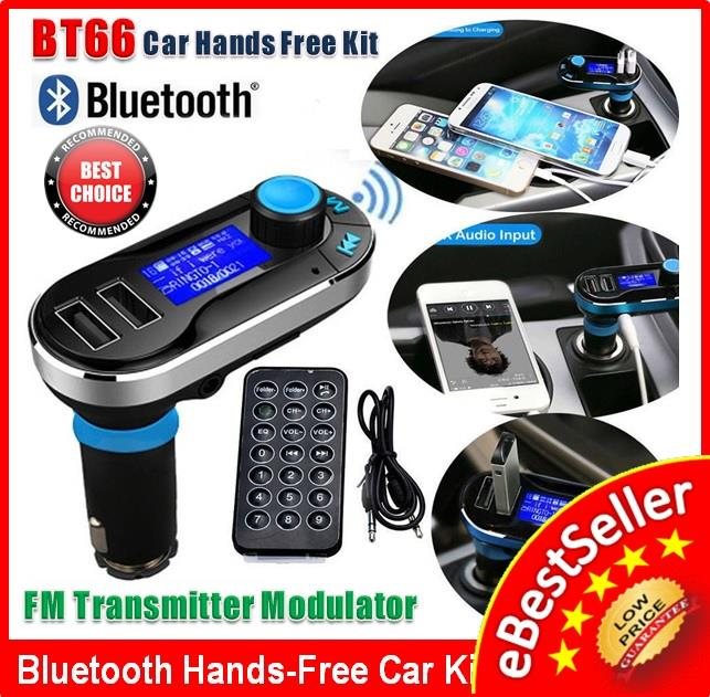 Car Bluetooth Kit MP3 Player FM Transmitter Modulator X2 USB Charger. ‹ ›
