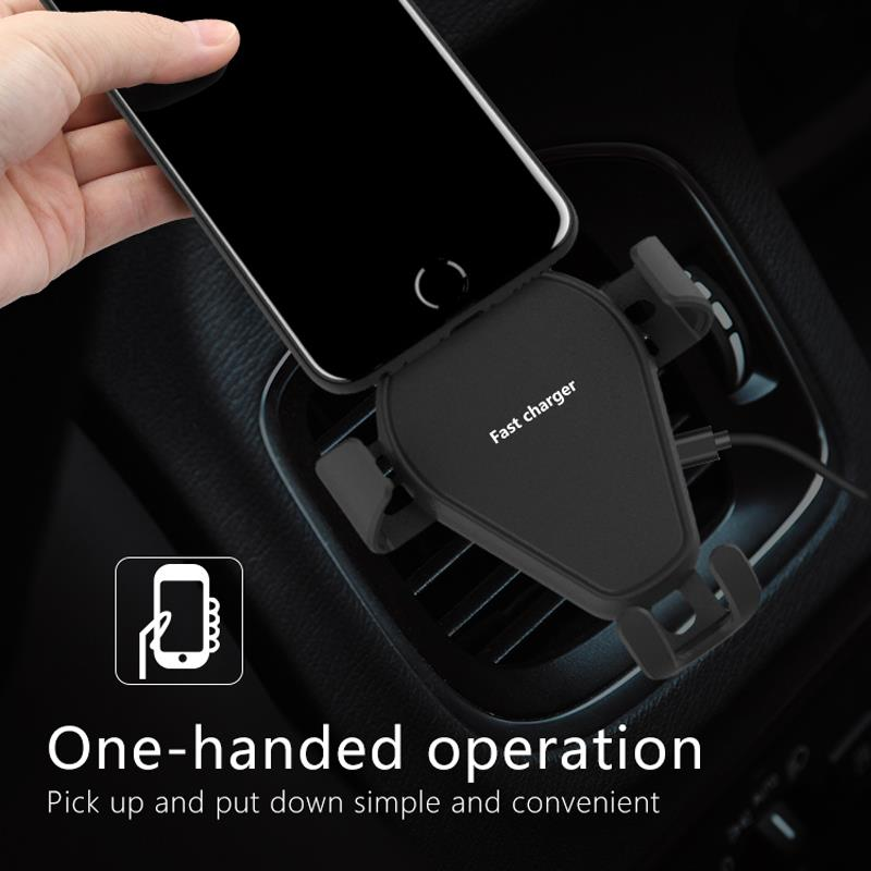 Car CD Slot Phone Holder Mount with Qi Wireless Charger