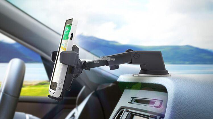 Car Dashboard/Glass Mount Automatic Long Neck One Touch Phone Holder