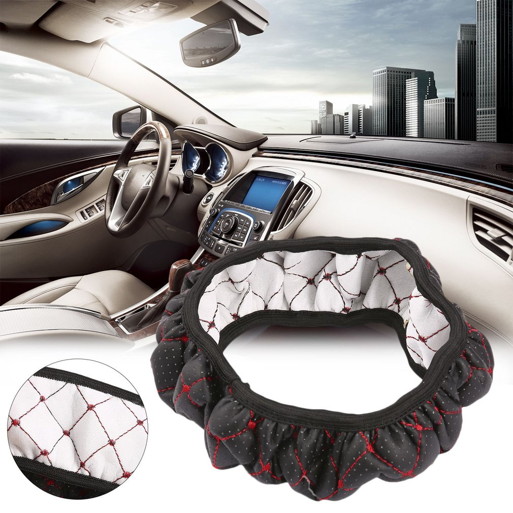 Car Fiber Leather Embroidery Elastic Skidproof Steering Wheel Cover Wi..