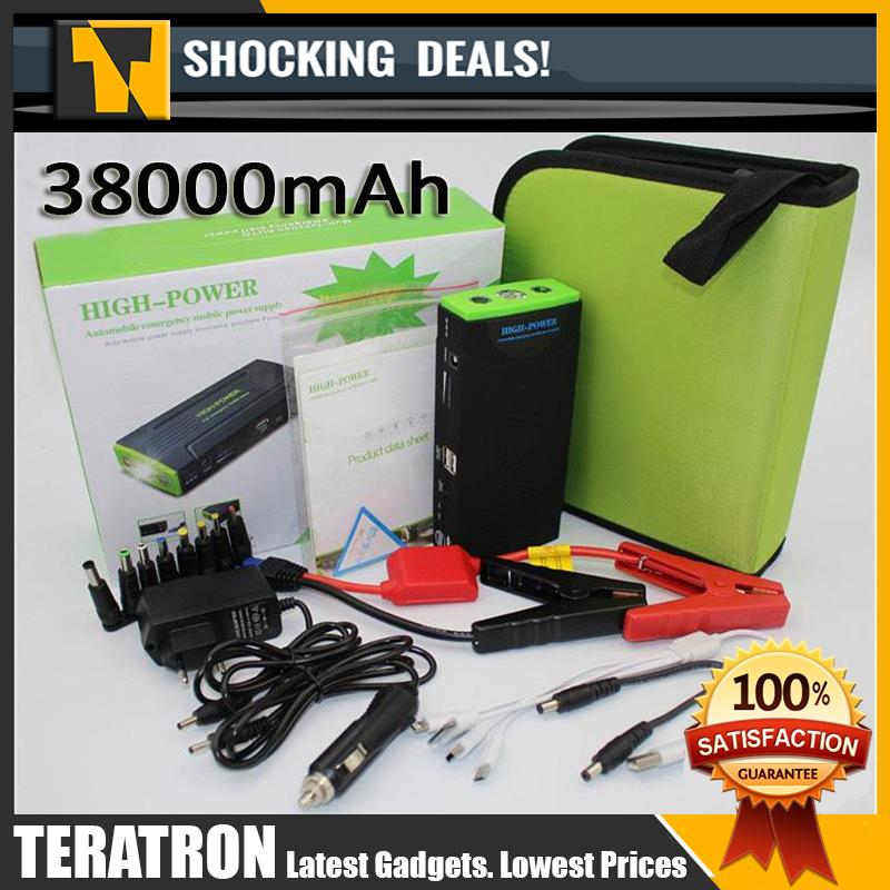 Car Jump Jumper Starter Backup Battery USB Power Bank 38000mAh Kit