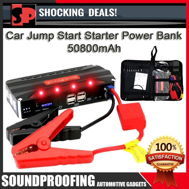 Car Jump Jumper Starter Backup Battery USB Power Bank 50800mAh Kit