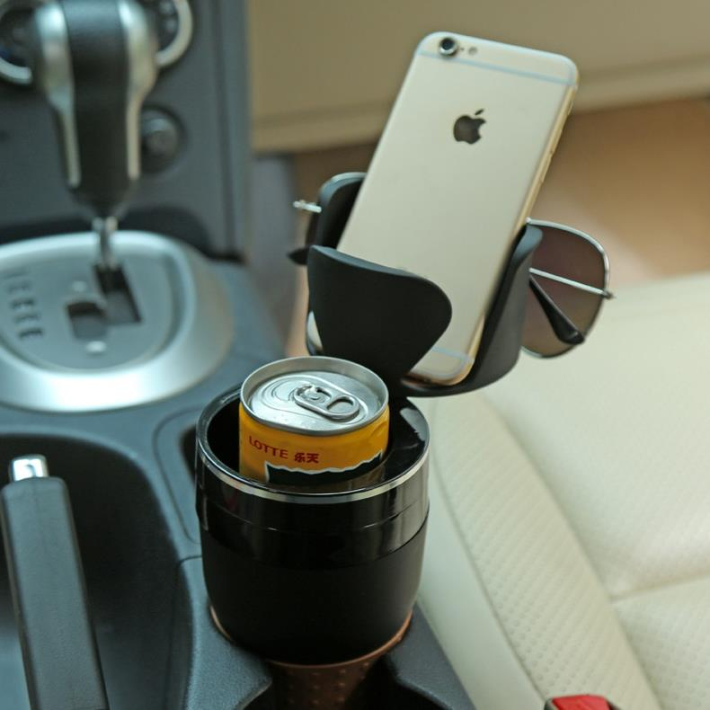 Car phone holder compartment water cup bracket glasses multifunction