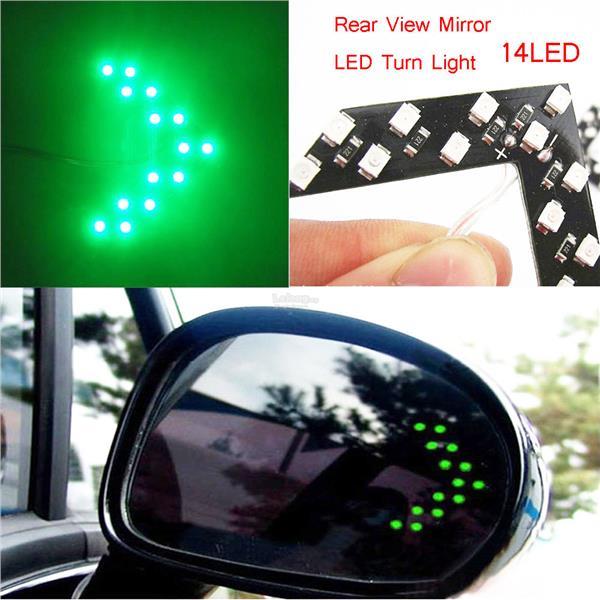 New 2x 14SMD Yellow LED Arrow Panel Rear View Mirror Turn Signal Indicator Light
