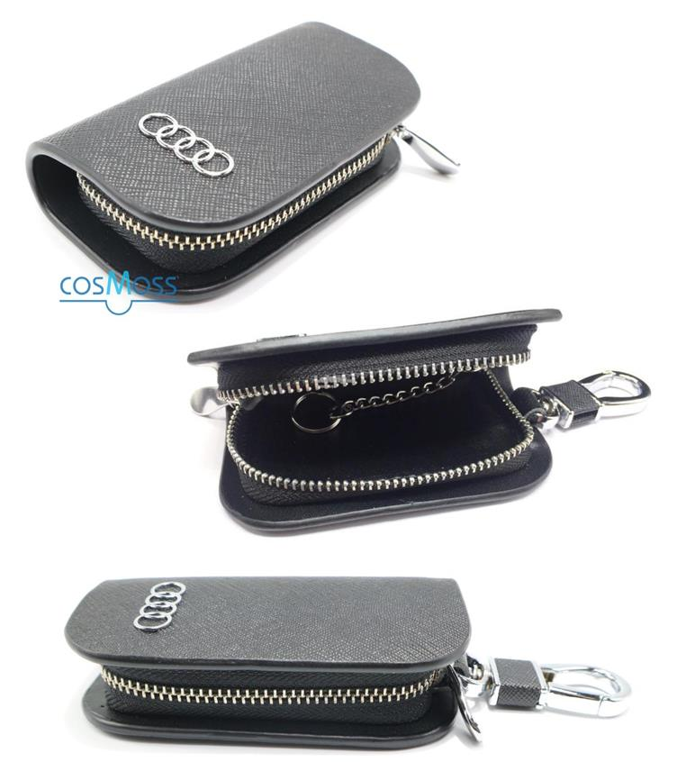 Car Remote Key Chain Holder Case Bag Fit For Audi (Black)