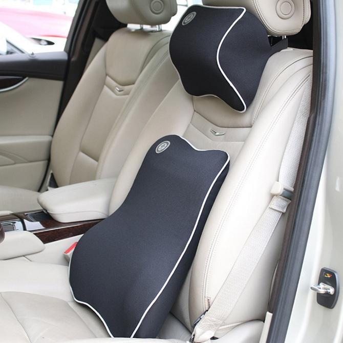 Car Seat Headrest Pillow And Lumbar Support Cushion Kit Travel Auto Head Neck